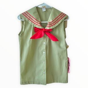 New Vintage Sailor Pussy Bow Military Green Blouse
